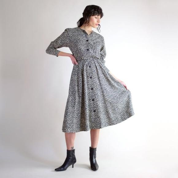 Leopard Silk Vintage 90s Print Midi Dress by Vintage